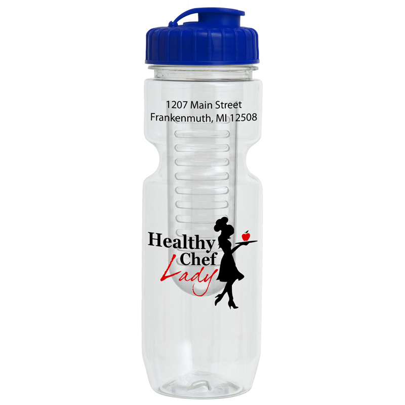 22oz Translucent Bike Bottle with Flip Top Lid & Infuser