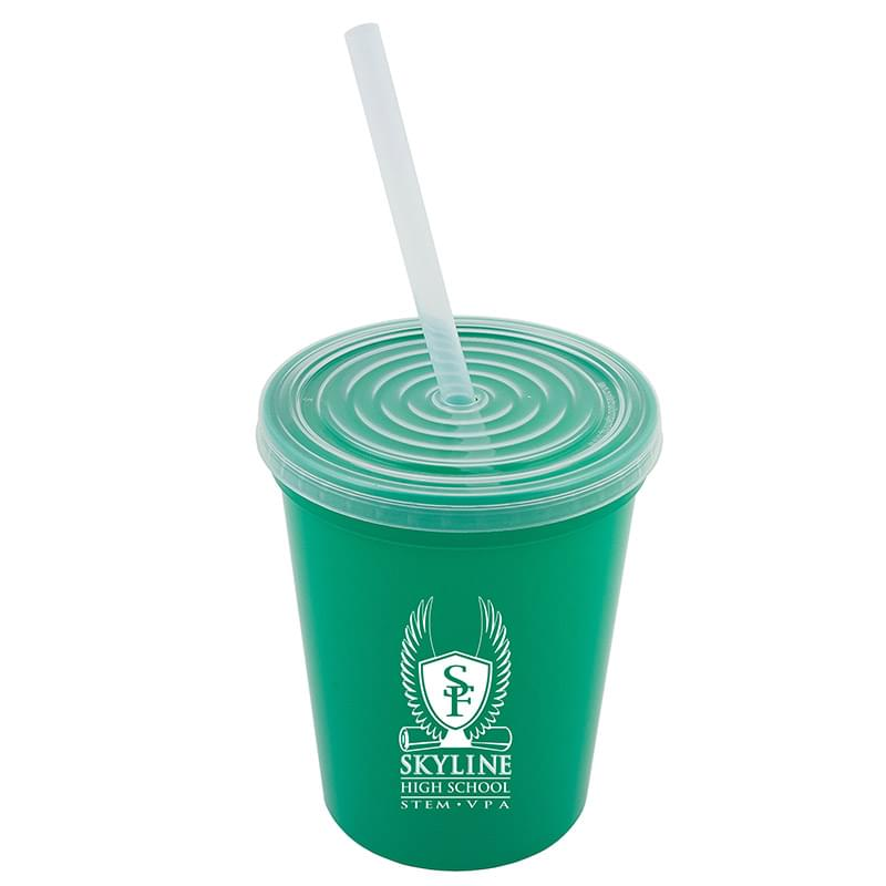 16oz Stadium Cup with Lid and Straw