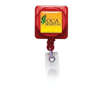 Square Domed Badge Holder with Slide on Clip