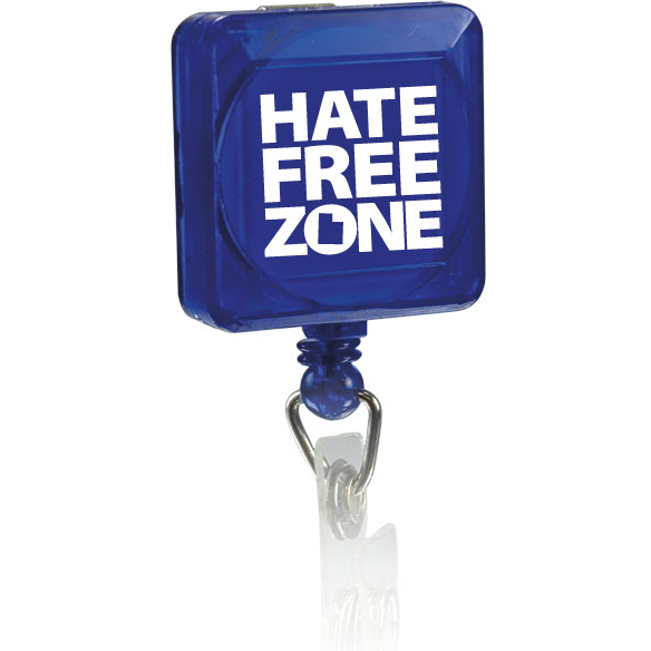 Square Pad Print Badge Holder With Slide On Clip