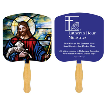 Jesus The Good Shepherd Fan With One Color Imprint