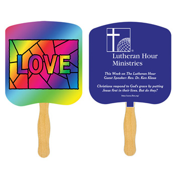 Love Stained Glass Fan With One Color Imprint