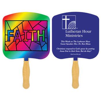 Faith Stained Glass Fan With One Color Imprint