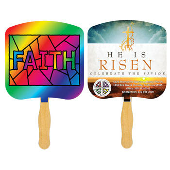 Faith Stained Glass Fan With Four Color Process Imprint