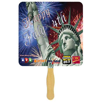 Square Glued Hand Fan With Four Color Process Imprint
