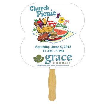 Hour Glass Glued Hand Fan With Four Color Process Imprint