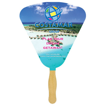 Seashell Glued Hand Fan With Four Color Process Imprint