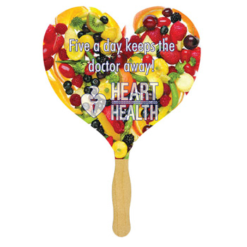 Heart Glued Hand Fan With Four Color Process Imprint