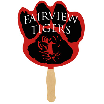 Paw Print Glued Hand Fan With Four Color Process Imprint